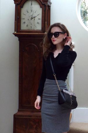 black Mango dress - black asos sunglasses - charcoal gray H&M skirt