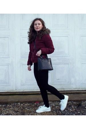 maroon H&M coat - white Mango shoes - black bag
