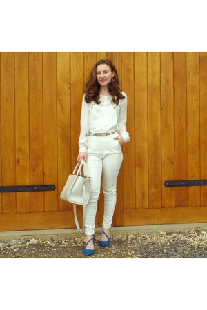 white Primark bag - blue heels - white H&M bodysuit - white Mango blouse