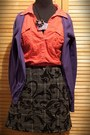 Zara-shirt-gray-handmade-skirt-zara-cardigan-amethyst-handmade-necklace