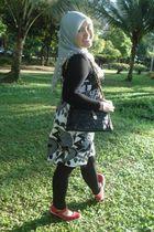 black shirt - black dress - gray scarf - red Keds shoes - black purse - black co