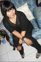 black top - black 7 jeans - black diva accessories - silver diva accessories - b