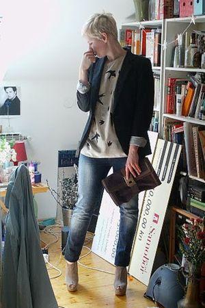 black Zara blazer - blue Topshop jeans - beige Topshop shoes - beige DIY Miu Miu