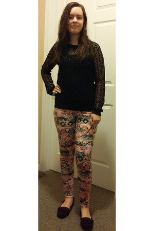 black allover lace Maurices sweater - floral print Maurices leggings