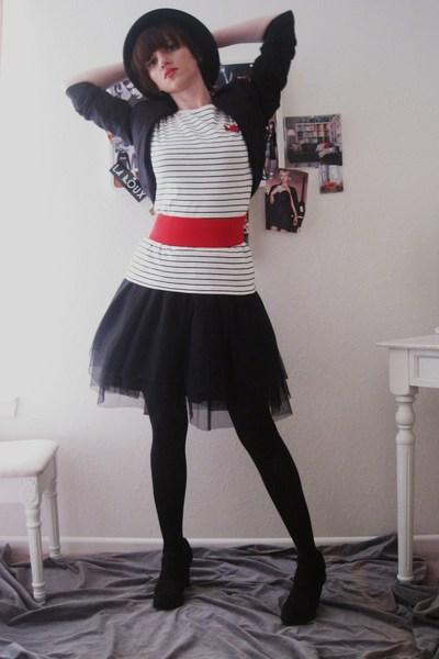 black Target hat - H&M shoes - black blk mesh vintage dress