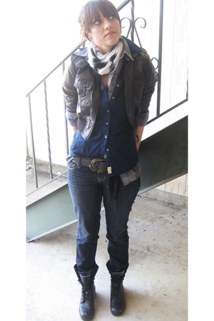 black Buckle jacket - blue Converse shirt - silver Thrifted Grunge shirt - white