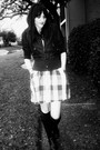 Blue-vintage-dress-black-boots-black-socks-black-dollhouse-jacket