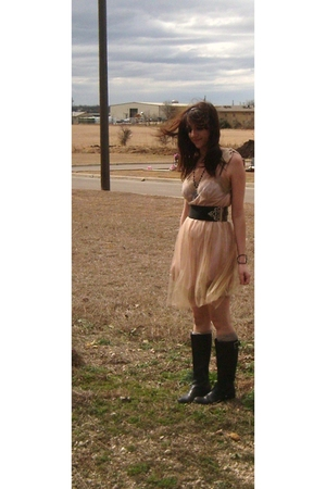 beige Rodarte for Target dress - black Body Central belt - black Target boots -