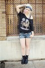Black-thrift-store-boots-navy-distressed-denim-shorts