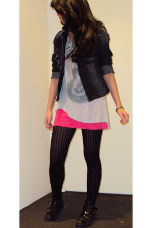 gray jacket - silver Something else by Natalie Wood top - pink unknown skirt - b