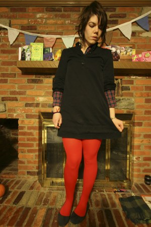 black H&M dress - navy thrifted shirt - red We Love Colors tights