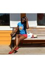 Blue-t-shirt-paul-frank-shirt-red-satin-bluenotes-shorts