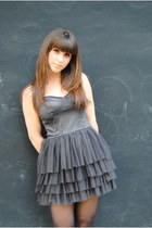 charcoal gray christian dior dress - cream gambini heels