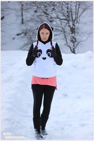 Tally Weijl boots - chicnova leggings - fecbek hoodie