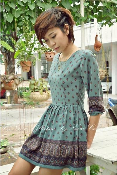 teal vintage dress By Nawa dress - tan - turquoise blue