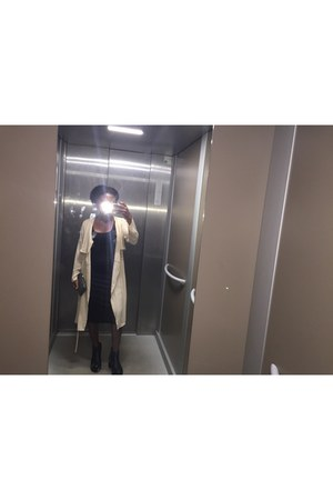 black hm dress - wedge Nelly boots - blazer BikBok jacket