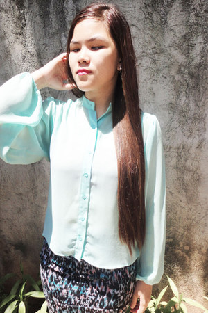 turquoise blue Forever 21 blouse - black Forever 21 skirt