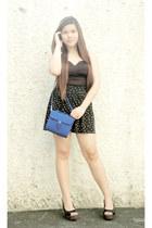 blue Closet Chic bag - black The Style Machine skirt - black Closet Chic top