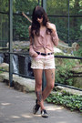 Black-dvf-bag-bubble-gum-diy-shorts-pink-zara-blouse-black-asos-flats