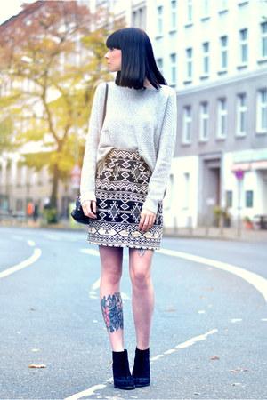hoss intropia skirt - Zara boots - Becksondergaard bag - Rützou jumper