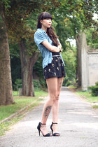 black Sheinside shorts - blue vintage denim blouse - black Zara heels