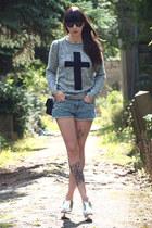 heather gray new look jumper - black Chanel bag - blue H&M shorts