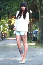 white Bimba & Lola bag - aquamarine Zara shorts - white Zara jumper