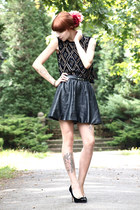 velvet beads vintage top - leather pu H&M skirt - Charlotte Olympia heels