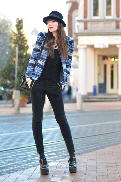 blue Zara jacket - black vintage hat - black PROENZA SCHOULER bag
