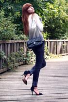 black Zara heels - black Cheap Monday jeans - black Chanel bag