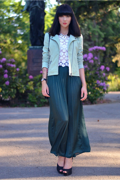 biker suede Only jacket - Diane Von Furstenberg bag - crochet floral Topshop top