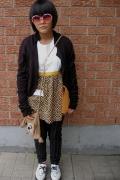 On the Verge sunglasses - sweater - thrift shirt - Hot Topic pants - shoes - pur