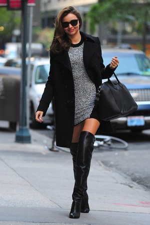 boucle unsure brand dress - Hermes boots - Givenchy bag - unsure brand glasses