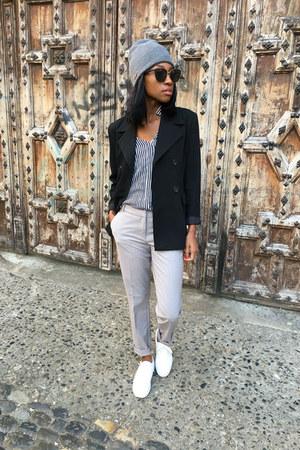 black Promod blazer - blue Zara shirt - periwinkle H&M pants