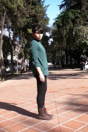 dark green shirt - black pants