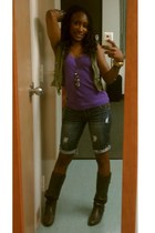 purple shirt - boots - aquamarine shorts - olive green vest