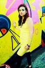 Yellow-stretch-cotton-michael-kors-dress