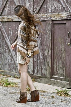 Zara sweater - seychelles boots - banana republic skirt