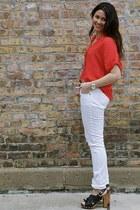 H&M jeans - Forever 21 top - leopard belt Forever 21 belt - tory burch heels - g
