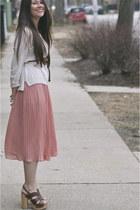 Steve Madden heels - H&M sweater - H&M skirt - brown belt Zara belt
