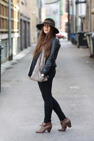 Anthropologie boots - Eugenia Kim hat - Zara jacket - Forever 21 scarf
