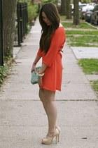 nude booties Dolce Vita boots - Myne dress - beaded clutch banana republic bag -