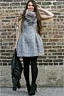 Zara-dress-zara-jacket-fur-stole-ann-taylor-scarf