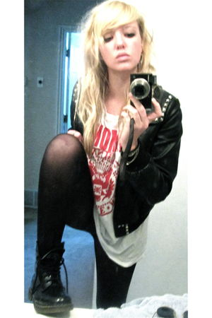 black lux uo jacket - white shirt - black Dr Martens shoes