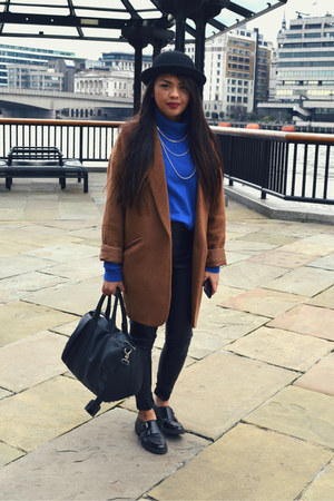 Newlook coat - black buckle Office shoes - black leather Topshop pants