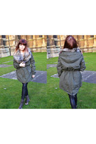 army green fur parka River Island coat