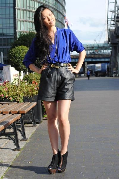 blue vintage blouse - black vintage shorts