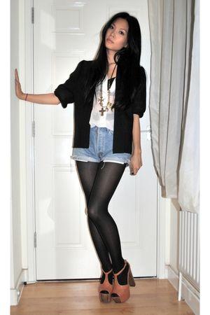 black vintage blazer - vintage shirt - brown Jessica Simpson shoes