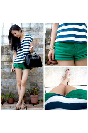 green denim Topshop shorts - navy stripes Diesel t-shirt