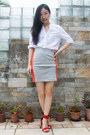 Carrot-orange-panel-skirt-club-monaco-skirt-red-ankle-strap-zara-sandals
